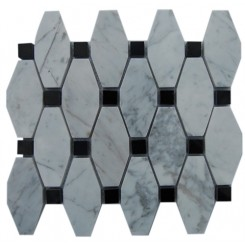 STELLA PATTERN WHITE CARRERA WITH BLACK DOT MARBLE TILE_MAIN