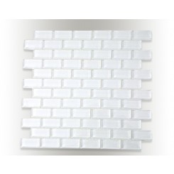 Loft Super White Polished 1x2 Glass Tiles