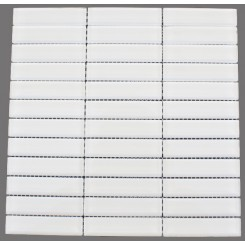 Loft Super White Polished 1 x 4 Glass Tile