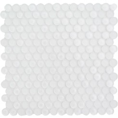 Sample-Loft Super White Glass Penny Round Tilse Sample