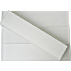 Sample-Loft Super White Frosted 2x8 Glass Tile Sample