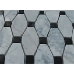 sample-STELLA PATTERN WHITE CARRERA WITH BLACK DOT 1/4 SHEET  TILES SAMPLE_1