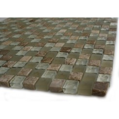 Sample-timothy Straw Blend 1/2x1/2 1/4 Sheet Glass Tile Sample