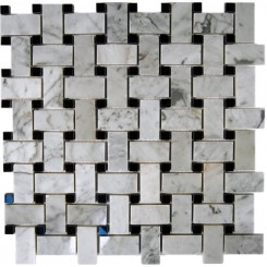 TRENZA WEAVE WHITE CARARRA 1X2 WITH BLACK DOT 7/8X7/8 MARBLE TILE_MAIN