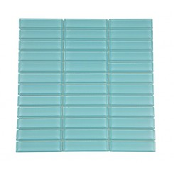 "Loft Turquoise Polished 1"" X 4"" Glass Tiles"