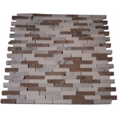 "VANILLA CHAI 1/2 X 2"" MARBLE TILES CRACKED JOINT CLASSIC BRICK LAYOUT""_MAIN"