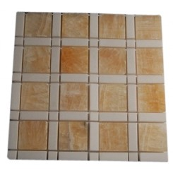 "WINDOW PATTERN HONEY ONYX 2X2 WHITE LINE 1/2X2"" WHITE DOT 1/2'X1/2' MARBLE TILE  TILES""_MAIN"