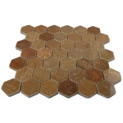 "WOOD ONYX 2 HEXAGON POLISHED MARBLE MOSAICS""_MAIN"