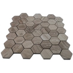 "WOODEN BEIGE 2 HEXAGON POLISHED MARBLE MOSAICS""_MAIN"