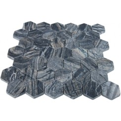 "WOODEN BLACK 2 HEXAGON POLISHED MARBLE MOSAICS""_MAIN"