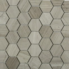 "Wooden Beige 2"" Hexagon Polished Marble Mosaics"