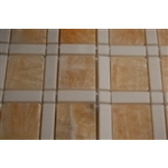 "sample-WINDOW PATTERN HONEY ONYX 2X2 WHITE LINE 1/2X2"" WHITE DOT  TILES 1/4 SHEET SAMPLE""_1"