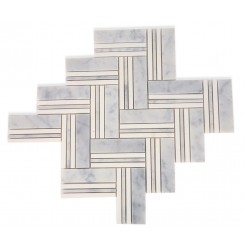Adagio White Carrera With Thassos Line Marble Tile