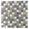 Metallic Etched Silver Birch Blend 1x1 Marble & Glass Tiles
