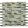 "Constellation Blend Brick Pattern 1/2""x2"" Marble & Glass Tile"