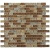 "Brick Pattern Leather Boot Brown Blend 1/2"" X Random"" Marble & Glass Tile Brick"
