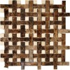Basket Weave Dark Emperador 1x2 With Crema Marfil Dot 1/2x1/2 Marble Mosaic Tile