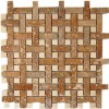 Basket Weave Noce Travertine Marble Mosaic Tile With Crema Marfil Dot