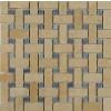 Basket Weave Jerusalem Gold Marble Mosaic Tile With Blue Macauba Dot