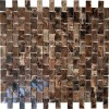 Dark Emperador 1/2x1 Marble Mosaic Tiles