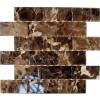 Dark Emperador Beveled 2x4 Marble Mosaic Tiles