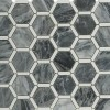 Florentine Dark Bardiglio Marble Tile With Thassos Line