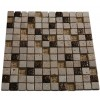 Fusion Camellia 1x1 Marble &amp; Metal Tiles With Copper Deco