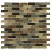 Geological Brick Multicolor Slate & Khaki Blend Glass Tiles