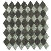 Geological Diamond Black Slate & Silver Glass Tiles
