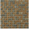 Geological Squares Multicolor Slate & Bronze Glass Tiles