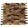 Golden Road Blend Bricks 1/2&quot; X 2&quot; Marble &amp; Glass Mosaic Tile