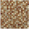 "Metallic Etched Pharaoh's Gold Blend 1/2"" X 1/2"" Marble & Glass Tiles"