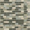 "Silver Fog Blend Bricks 1/2"" X 2"" Marble & Glass Tile Brick Pattern"