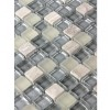 Sample- Silver Fog Blend Squares 1/2&quot; X 1/2&quot; Glass Tiles 1/4 Sheet Sample